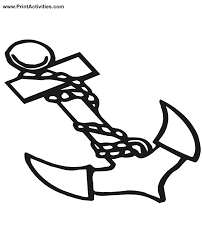boat coloring page of an anchor