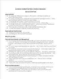 Personnel Management Job Description Business Administration Finance Manager Job Description