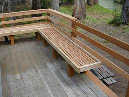 attractive wooden bench with wood decks and deck railing designs ideas for exterior design
