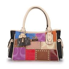 Coach Holiday Logo Stud Medium Ivory Multi Satchels EBY
