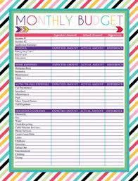 Free Printable Monthly Budget Worksheet Planner Pinterest