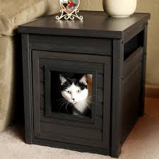 Decorative Cat Litter Box Covers Fascinating Cat Litter Box Furniture using Dark Maple Material 12