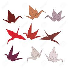 Japanese Origami Paper Cranes Set Orange Red White Pink Symbol