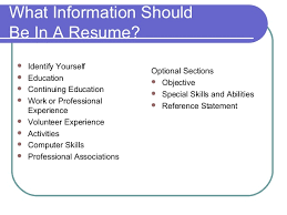 What Information Should Be In A Resume?