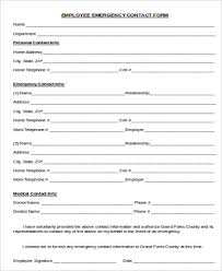 employer emergency contact form template sample employee emergency contact form 7 examples in word