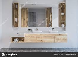 Modernes Badezimmer Innenraum Mit Weißen Wänden Betonboden Doppel