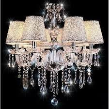 crystal chandelier 6 lights arms candle pendant lamp with lampshade