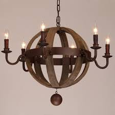 farmhouse weathered wooden globe candle style nostalgic chandelier metal rust