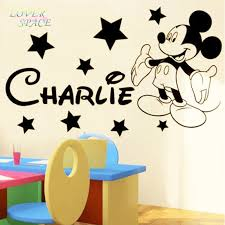 mickey mouse wall stickers for kids rooms custom name removable vinyl wall sticker home decor preschool cartoon wall art 50x70