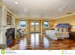 Modern Master Bedroom With Fireplace. Large Elegant Master Bedroom Fireplace  Silver Bedding Hardwood Floor Modern