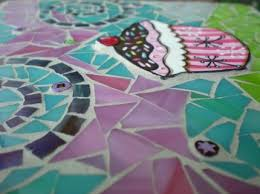 pink cup cake mosaic stained glass