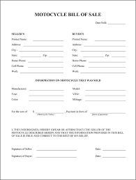 how to make bill of sale motorcycle bill of sale form