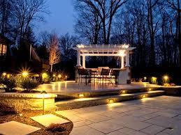 garden lighting design ideas. Small Garden Lighting Ideas With White Pergola And Round Table Sets Design O