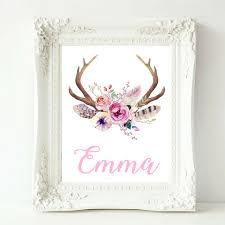 personalized baby girl name print boho nursery custom name print baby girl nursery wall art deer antler print kids room decor