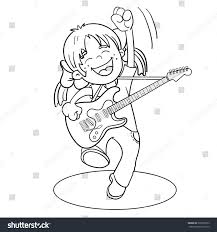 Small Picture Coloring Page Outline Cartoon Girl Guitar Stock Vector 330356753