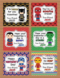 Personalized Superheroes Personalized Superheroes Boys Valentine Class Cards Por