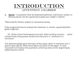 parts of an essay introduction attention grabber quote a  2 introduction