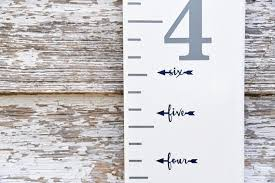 Height Marker For Growth Chart Ruler Vinyl Decal Arrow In Script Measuring Mark
