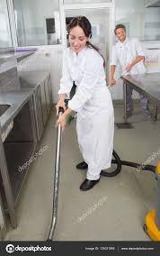 Restaurant Kitchen Floor Restaurant Staff Cleaning Kitchen Floor Stock Photo
