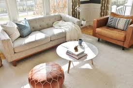 city farmhouse den reveal pre paint marble coffee table leather chair linen tufted sofa all from article