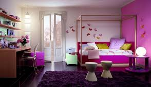 charming room decor for teenage girl with beautiful paper butterflies art wall decor and canopy beds also round purple lacquer finish wooden bedside table charming bedroom ideas black white