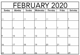Calendar Template Monthly 2020 Monthly February 2020 Calendar Printable Template