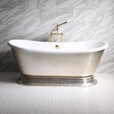 gianetta73 73 coreacryl white acrylic french bateau pedestal tub with umber wash aged silver leaf exterior