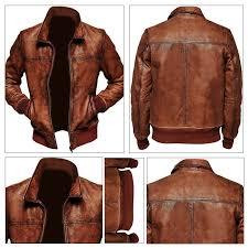details about men s biker motorcycle vintage distressed brown biker winter leather jacket