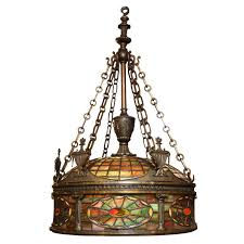 fine quality tiffany style bronze and stained glass chandelier for