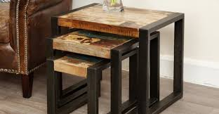 industrial living room furniture. Industrial Nest Of Tables Living Room Furniture