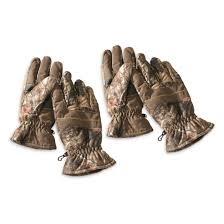 Hot Shot Mens Camo Hunting Gloves Waterproof 2 Pack