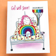 Get Well Card Amazon Com Funny Get Well Card With Unicorn Get Well Soon