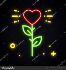 Růže Neonový Nápis Bright Květina S Tvarem Srdce Ve Tmě Láska