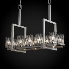 wire glass dakota 10 light bridge chandelier shade pattern grid with clear bubbles finish