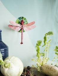 studio roof 3d wall decoration pink dragonfly