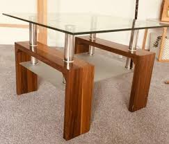 retro glass and wooden coffee table