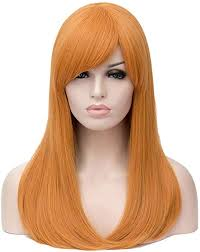 HongHu Womens <b>Side Bangs Long Straight</b> Wig Anime Cosplay ...