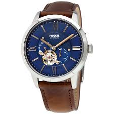 fossil townsman automatic blue satin dial men s watch