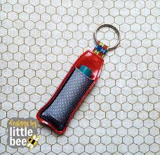 Lip Balm Holder Embroidery Design Lip Balm Holder With Applique Pocket Ribbon Key Fob 04 07 2017