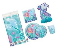 Image is loading Deluxe-Mermaid-Birthday-Party-Supplies-Pack-Serves-16- Deluxe Mermaid Birthday Party Supplies Pack - Serves 16 Tablecloth