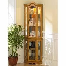 Glass Curio Cabinets With Lights Michelle Lighted Corner Curio Cabinet Golden Oak Bjs