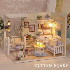 wooden house furniture. Doll House Furniture Diy Miniature Dust Cover 3D Wooden Miniaturas Dollhouse Toys Cat Children Birthday Gifts Kitten Diary-in Houses From