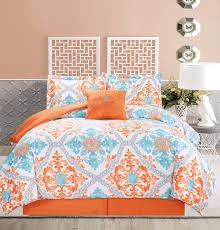 5 piece regal orange blue white comforter set