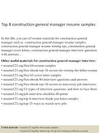 Top8constructiongeneralmanagerresumesamples 150723071758 Lva1 App6892 Thumbnail 4 Jpg Cb 1437635921