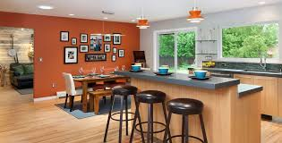 burnt orange accent chair with contemporary kitchen and bar stools black barstools dining gray countertops kitchen