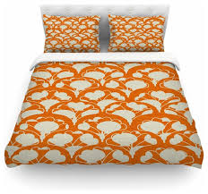 michelle drew art deco in orange white duvet cover