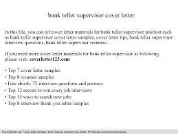 Bank Teller Interview Ideas Of Cover Letter For Teller Supervisor