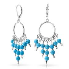 boho blue bead drops write the first review bling jewelry 925 silver synthetic turquoise chandelier leverback earrings