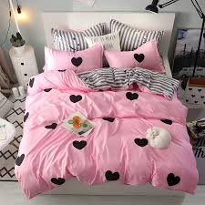 pink love a b side stripe bedding sets duvet cover set pillowcase cover flat sheet king twin full queen size 100 polyester cars bedding silk bedding sets