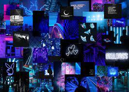neon blue aesthetic laptop wallpaper ...